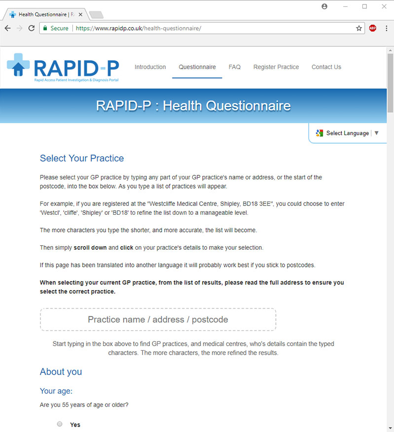 Rapid-P Automated Assessment and Referral Portal
